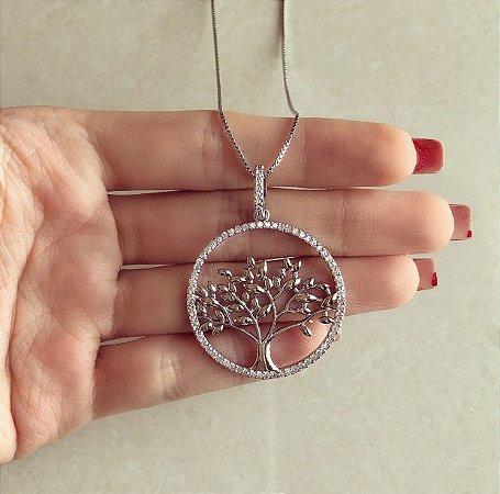 Corrente Mandala Árvore da Vida Cravação Zircônias Diamond Ródio Branco