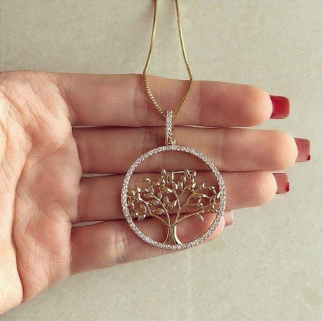 Corrente Mandala Árvore da Vida Cravação Zircônias Diamond Dourado