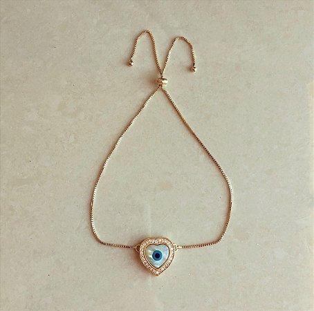 Pulseira Coração Madre Pérola Olho Grego com Zircônias Diamond Dourado