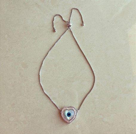 Pulseira Coração Madre Pérola Olho Grego com Zircônias Diamond Ródio Branco