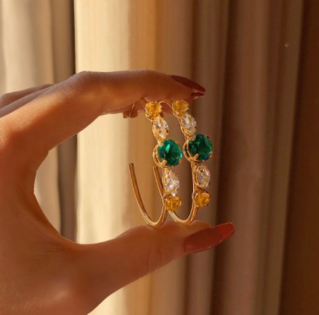 Brinco Argola Zircônia Verde Esmeralda, Diamond e Morganita Dourado