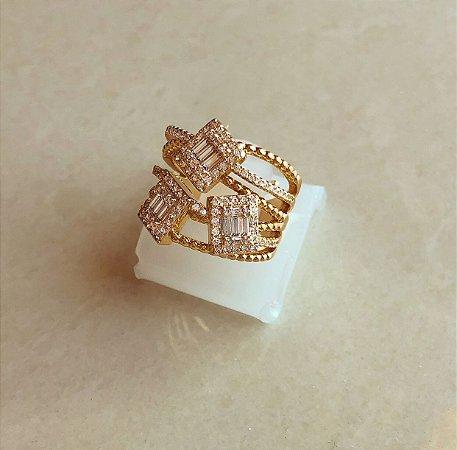Anel Luxuoso Bruxelas Cravação Mil Zircônias Diamond Dourado