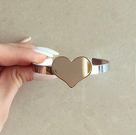 Pulseira/Bracelete Maxi Coração Ródio Branco