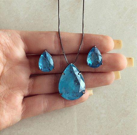 Conjunto Gota Grande Pedra Fusion Azul Turquesa Ródio Negro