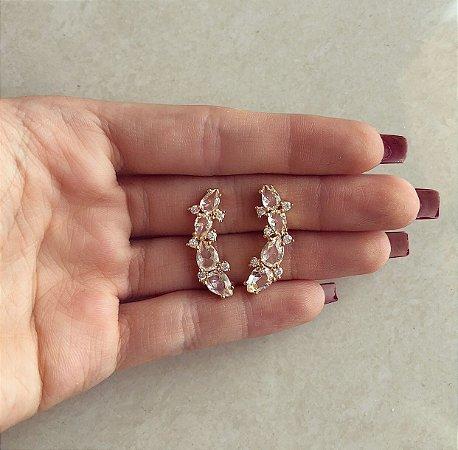 Brinco Ear Cuff Gotas de Zircônias Diamond Dourado