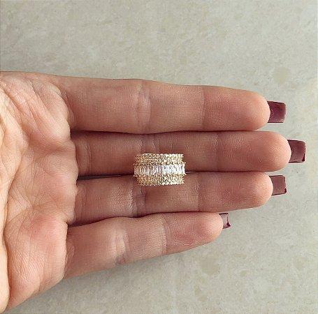 Piercing de Pressão Luxury Navetes e Micro Zircônias Diamond Dourado