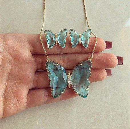 Conjunto Luxuoso Maxi Borboleta Cristal Azul Claro e Zircônias Diamond Dourado