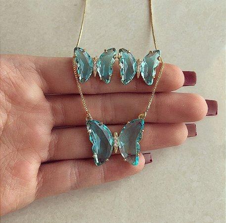 Conjunto Luxuoso Borboleta Cristal Azul Claro e Zircônias Diamond Dourado
