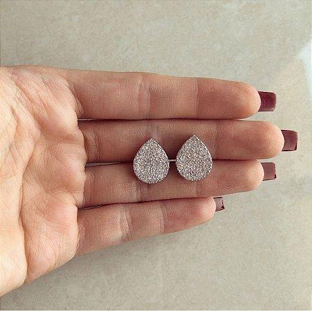Brinco Gota Cravação Mil Zircônias Diamond Ródio Branco