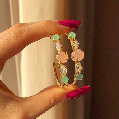 Brinco Argola Zircônia Leitosa Verde Água, Safira Rosa e Diamond Dourado