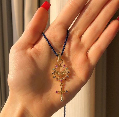 Corrente de Pedras Azul Marinho e Espírito Santo Com Zircônias Colorida Dourado