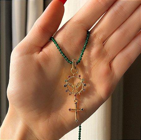 Corrente de Pedras Verde Esmeralda e Espírito Santo com Zircônias Colorida Dourado