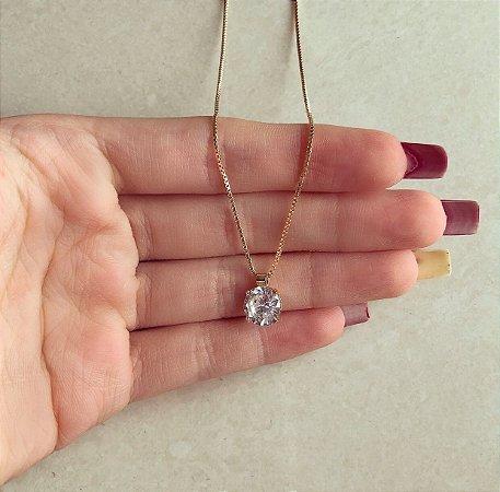 Corrente Ponto de Luz Grande de Maxi Zircônia Diamond Dourado