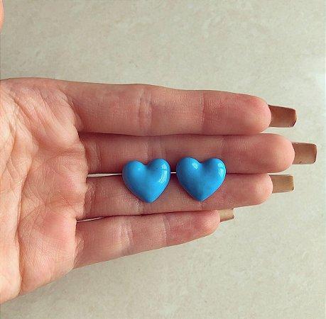 Brinco Coração Esmaltação Azul Neon Dourado