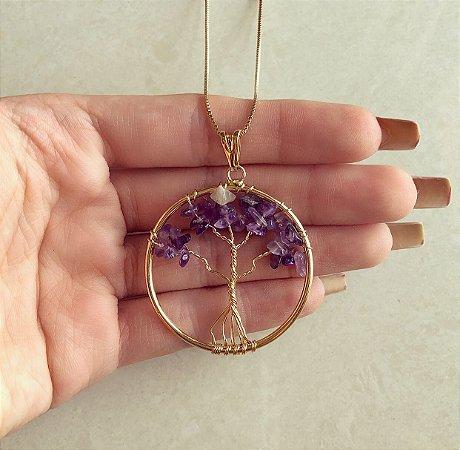Colar Mandala Árvore da Vida com Pedras Naturais Ametista Dourado