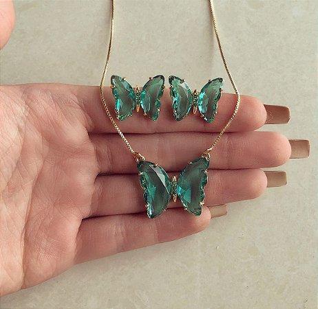 Conjunto Luxuoso Borboleta Cristal Verde Turmalina e Zircônias Verde Doura