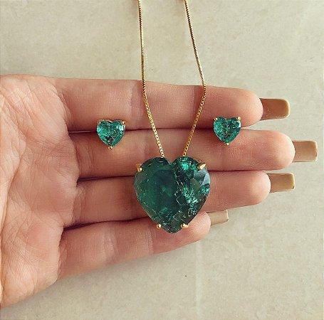 Conjunto Luxuoso Coração Pedra Fusion Verde Turmalina Dourado
