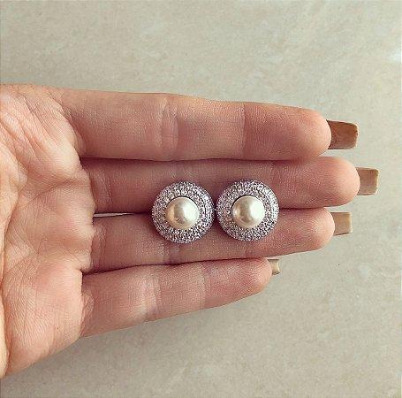 Brinco Redondo Bariloche Mil Zircônias Diamond com Pérola Ródio Branco
