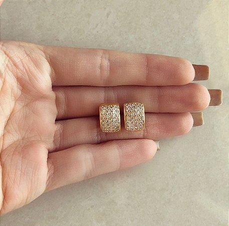 Argolinha Madrid Cravação 32 Pontos de Zircônias Diamond Dourado