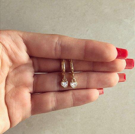 Argolinha Coração de Zircônia Diamond Dourado
