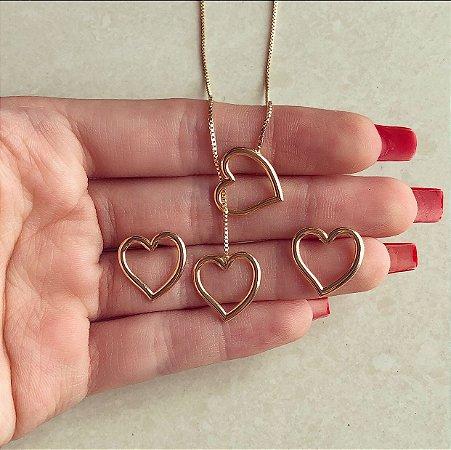 Conjunto Gravatinha Coração Vazado Dourado