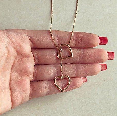 Colar Gravatinha Coração Vazado Dourado