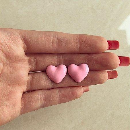 Brinco Coração Esmaltação Rosa Bebê Neon Dourado