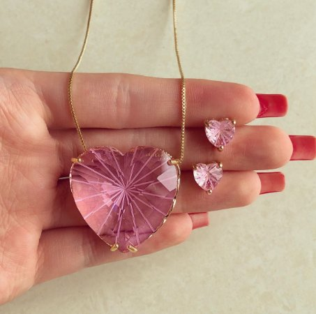 Conjunto Maxi Coração Pedra Raiada Safira Rosa Dourado