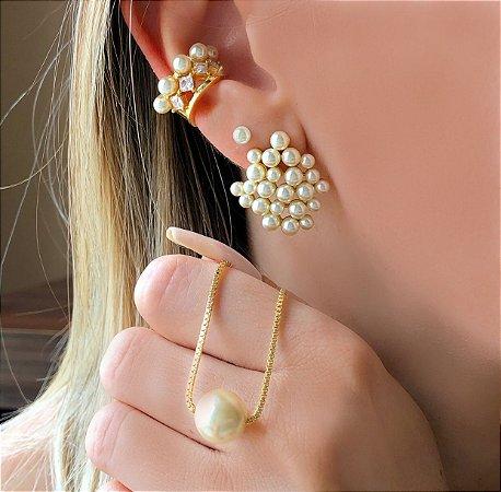 Piercing de Pressão Cravação Zircônias Diamond e Pérolas Dourado