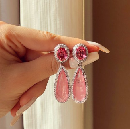 Brinco Luxuoso Paraty Pedra Fusion Safira Rosa e Zircônias Diamond Ródio Branco