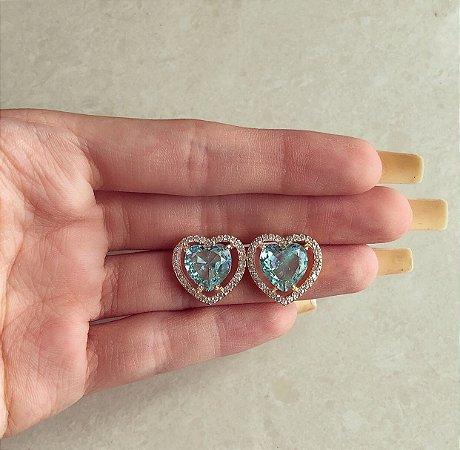 Brinco Maxi Coração Zircônia Azul Claro e Diamond Dourado