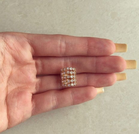 Maxi Piercing de Pressão Mil Pontos de Zircônias Diamond Dourado
