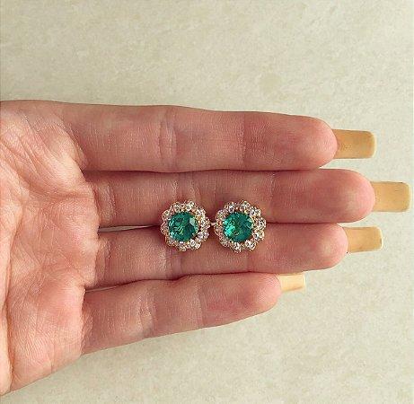 Brinco Bolinha Zircônia Verde Turmalina e Diamond Dourado