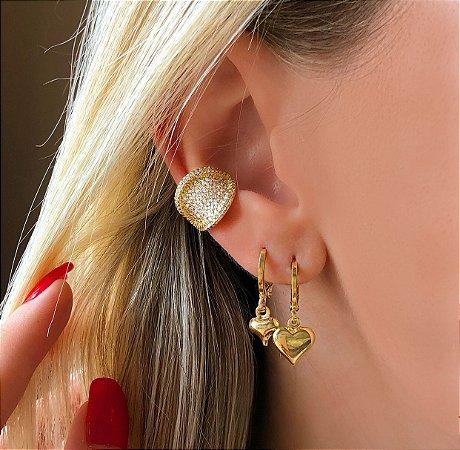 Maxi Piercing de Pressão Lisboa Mil Zircônias Diamond Dourado