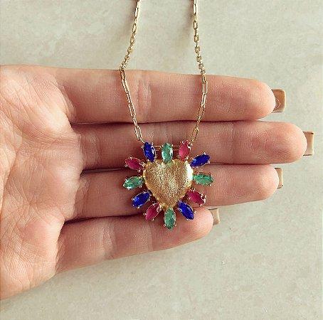 Corrente Elos Maxi Coração de Zircônia Azul, Rosa e Verde Dourado