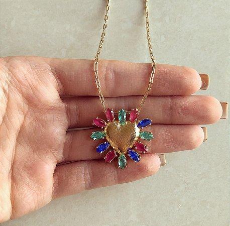 Corrente Elos Maxi Coração de Zircônia Rosa, Verde e Azul Dourado