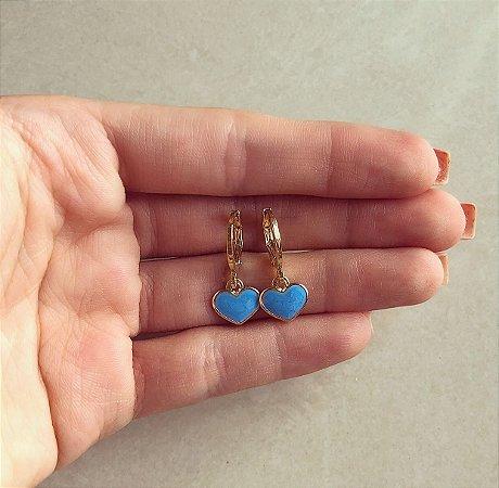 Argolinha Coração Esmaltado Azul Turquesa Dourado