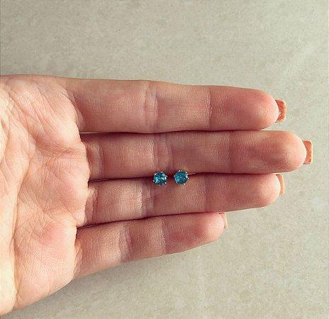 Brinco Pingo Médio de Zircônia Azul Turquesa Dourado