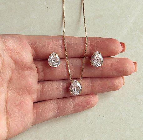 Conjunto Delicado Gota de Zircônia Diamond Dourado