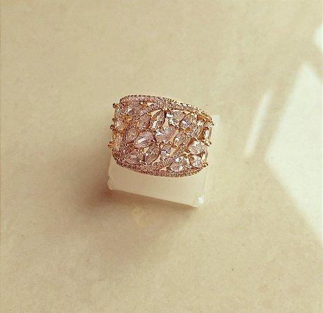 Anel Grécia Mil Zircônias Luxuosas Diamond Dourado