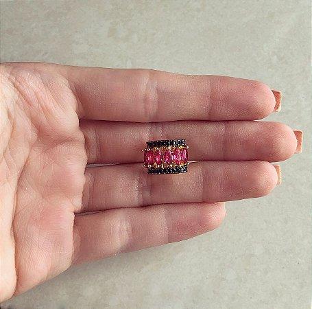 Piercing de Pressão Navetes de Zircônia Pink e Mini Marcassita Dourado