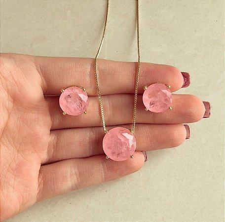 Conjunto Redondo Pedra Fusion Safira Rosa Dourado