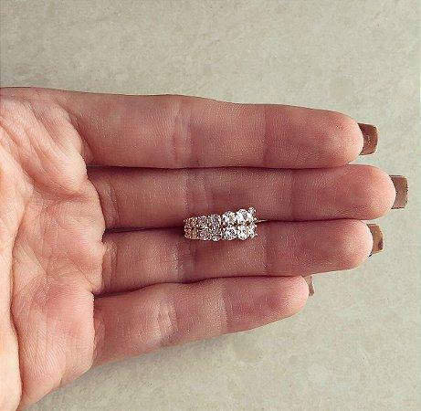 Piercing de Pressão Dubai Maxi e Micro Zircônias Diamond Dourado
