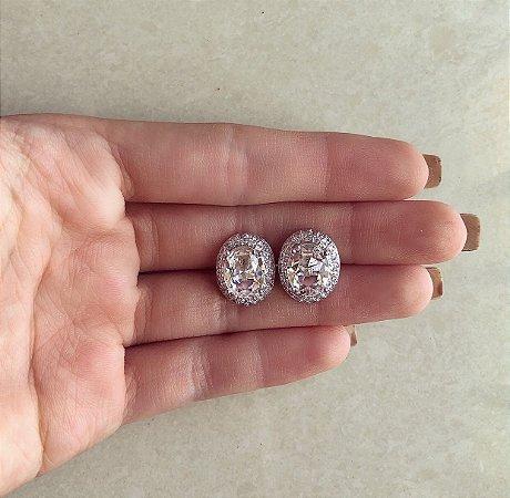 Brinco Salvador Redondo Luxury Mil Zircônias Diamond Ródio Branco