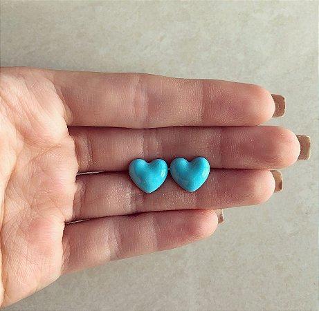 Brinco Coração Pequeno Esmaltação Azul Céu Neon Dourado