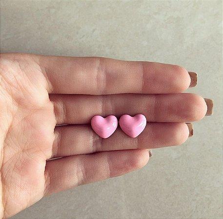 Brinco Coração Pequeno Esmaltação Rosa Bebê Neon Dourado