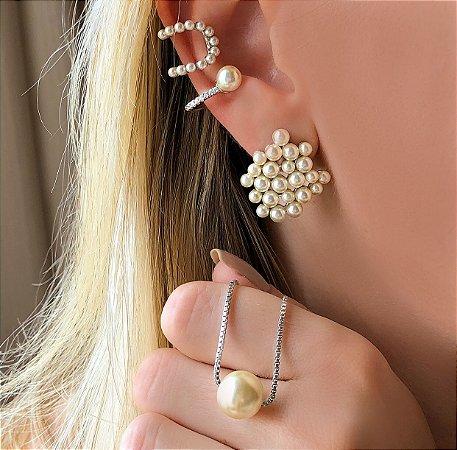 Maxi Piercing de Pressão Pérolinhas e Zircônias Diamond Ródio Branco