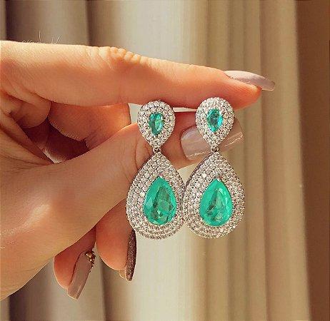 Brinco Luxo Recife Mil Zircônias Diamond e Pedra Fusion Verde Paraíba Ródio Branco