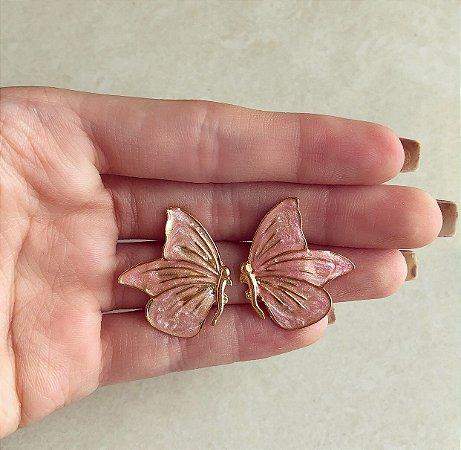Brinco Borboleta Esmaltada Rosa Pérolado Dourado