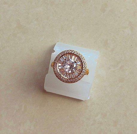 Anel Luxo Pizza Mil Zircônias Diamond Dourado